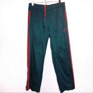 Adidas Men Green Orange Stripe Track Pants Large